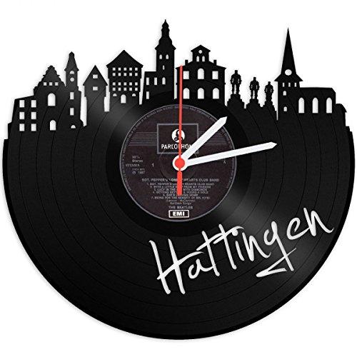 Wanduhr aus Vinyl Schallplattenuhr Skyline Hattingen Upcycling Design Uhr Wand-Deko Vintage-Uhr Wand-Dekoration Retro-Uhr Made in Germany