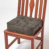 Homescapes gepolstertes Stuhlkissen 40 x 40 cm, Stuhlpolster mit Befestigungsbändern und...