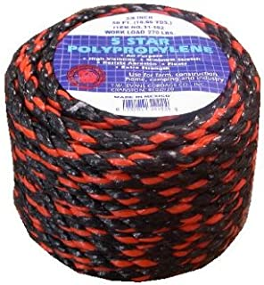 T.W Evans Cordage 31-122 3/8-Inch -100-Feet California Truck Rope Black and Orange Polypro Rope