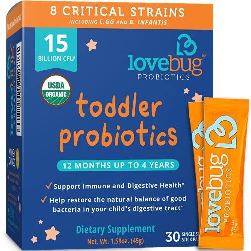 Lovebug Probiotic and Prebiotic for Kids, 15 Billion CFU, for Children...