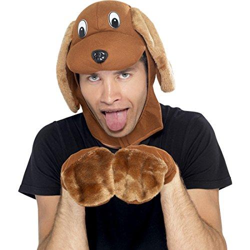 NET TOYS Kostüm-Set Hund mit Mütze und Pfoten braun Mops Verkleidung Hund Hundemütze