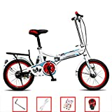 YSHCA 16 Pulgadas Plegable Bicicleta, Marco de Acero al Carbono Bicicleta Plegable Street con Estante y Sillin Confort...