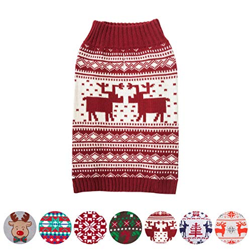 Blueberry Pet 6 Patterns Vintage Festive Red Ugly Christmas Reindeer Holiday Festive Dog Sweater, Back Length 16', Pack of 1 Clothes for Dogs