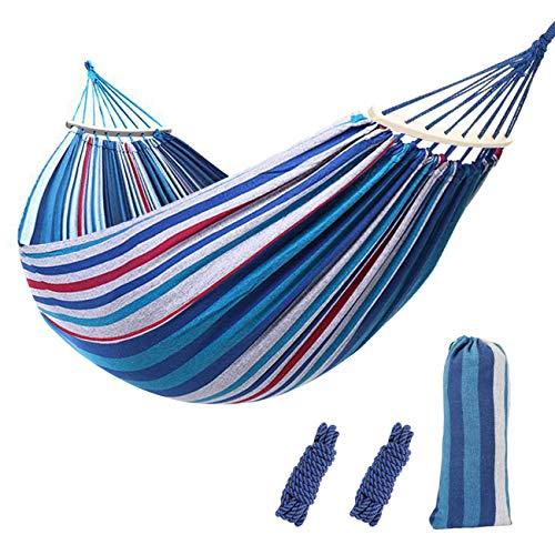 Sooair - Hamaca de viaje, para camping, para exterior, interior y jardín, ultraligera, Azul y blanco.
