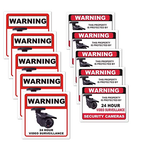 10 Pack Vinyl Weatherproof Stickers Camera Outdoor Sign Windows Surveillance Security Decal 24 Hour Home Business