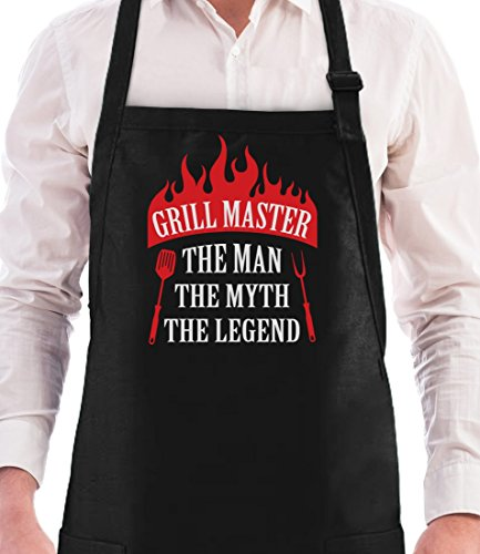 Grill Master The Man The Myth The Legend Father's Day/Birthday Gift Funny BBQ Chef Apron One Size Black