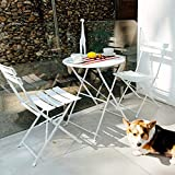 Grand patio 3pc Metal Folding Bistro Set, 2 Chairs and 1 Table, Weather-Resistant Outdoor/Indoor Conversation Set for Patio, Yard, Garden-White