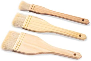 Hake Paint Brush, 3 Piece Flat Basting Pastry Brush Spread Oil Butter Sauce Marinades Artist Painting Brushes Set for Barb...