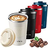 Mug Isotherme Etanche 510ml, Tasse à café isolée avec Couvercle étanche,Isolation sous Vide à Double paroi en Acier Inoxydable, Café/Thé I Tasse isolée pour café et thé à emporter (blanc-510ml)
