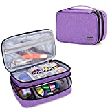 Luxja Sewing Accessories Organizer, Double-Layer Sewing Supplies Organizer for Needles, Scissors, Measuring Tape, Thread and Other Sewing Tools (NO Accessories Included), Small/Purple