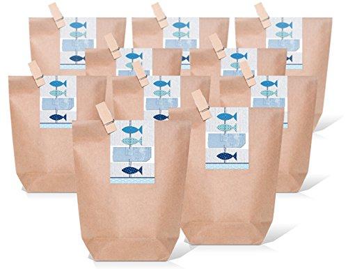 Logbuch-Verlag 25 kleine FISCHE maritim blau Verpackung Geschenktüte Kommunion Taufe Hochzeit Gastgeschenk Geschenk Papierbeutel Geburtstag Tüte