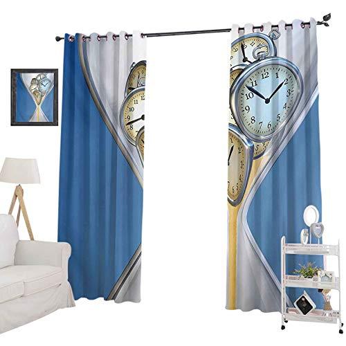 YUAZHOQI Cortina de ventana con reloj de arena con patrón de arena para el hogar, un diseño vintage, cortina oscurecedora para sala de estar, 132 x 213 cm, azul y marrón