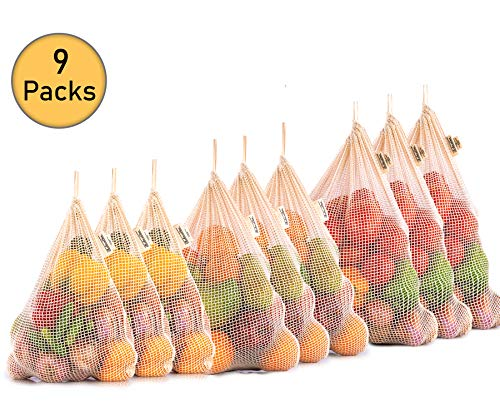 Reusable Produce Bags Cotton - Eco-Friendly Produce Bags - Net Zero Produce Bags - Cotton Produce Bag - Organic Produce Bags - Reusable Produce Bags Cotton - Set of 9  3 L 3 M 3 S