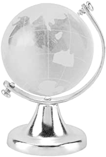 Crystal Globe, Crystal Ball Glass Sphere Display Globe, Glass Globe Round Earth World Map Ball Sphere Home Office Decor Gi...