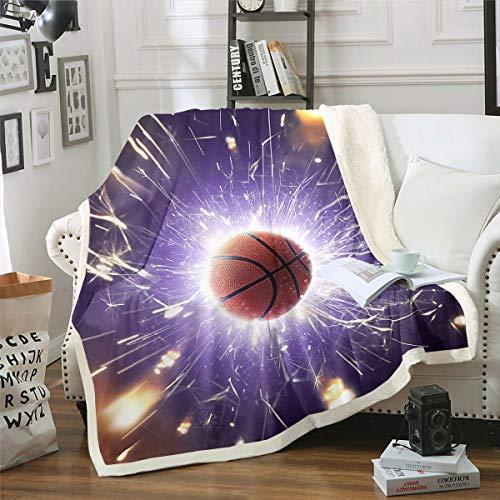 Homemissing Manta de forro polar para niños, pelota 3D Sherpa para niños, adolescentes y hombres, manta de baloncesto con purpurina fresca para decoración de sofá, cama doble, 152 x 192 cm