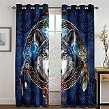 HOMEIEU Cortinas Opacas Y De Ruido, Patrón De Lobo Animal De Moda 3D, Adecuado para Sala De Estar Y Dormitorio, Juego De 2 Piezas (AN132xAL114cm-2PCS)