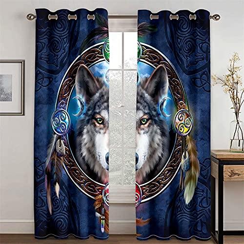 HOMEIEU Cortinas Opacas Y De Ruido, Patrón De Lobo Animal De Moda 3D, Adecuado para Sala De Estar Y Dormitorio, Juego De 2 Piezas (AN229xAL229cm-2PCS)