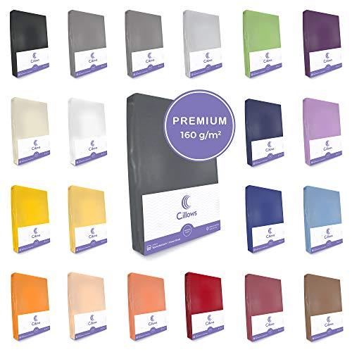 Celsius Jersey Spannbettlaken Spannbetttuch 140x200-160x220 cm 100% Baumwolle Bettlaken Farbe: Anthrazit 160 g/m2 Qualität
