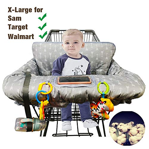 Shopping Cart Cover for Baby Cotton High Chair Cover Full Safety Harness, Machine Washable for...