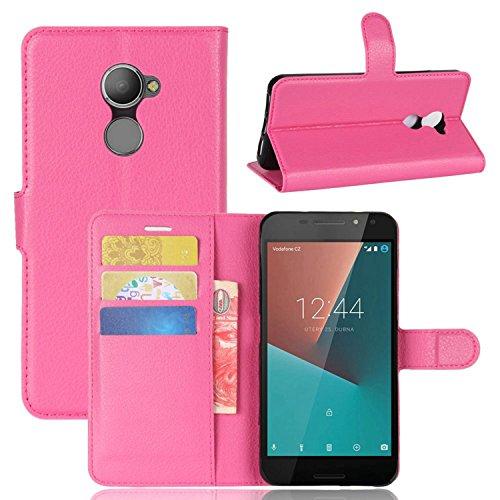 Tasche für Vodafone Smart N8 Hülle , Ycloud PU Kunstleder Ledertasche Flip Cover Wallet Case Handyhülle mit Stand Function Credit Card Slots Bookstyle Purse Design Rose Red