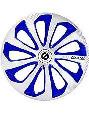 Sparco SPC1675SVBLC Juego de 4 Tapacubos Sicilia 16 Pulgadas Plateado/Azul/Carbonio
