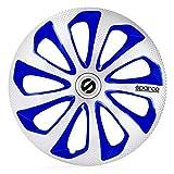 Sparco SPC1475SVBLC Juego de 4 Tapacubos Sicilia 14 Pulgadas Plateado/Azul/Carbonio