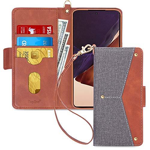 Toplive Samsung Galaxy Note 20 Ultra 5G Hülle, Galaxy Note 20 Ultra Handyhülle Tasche Brieftasche Flip Schutzhülle mit [Ständer] & [Kartenhalter] für Samsung Note 20 Ultra 5G Handytasche (2020)-Grau