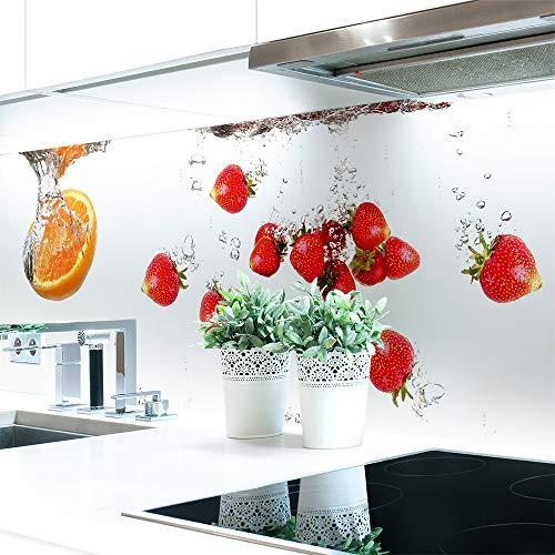 Küchenrückwand Obst Wasser Premium Hart-PVC 0,4 mm selbstklebend - Direkt auf die Fliesen, Größe:Materialprobe A4