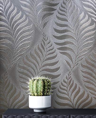 NEWROOM Blumentapete Tapete braun Blätter Zweige Floral Papiertapete braun Papier moderne Design Optik Tapete Blumentapete Glänzend Modern inkl. Tapezier Ratgeber
