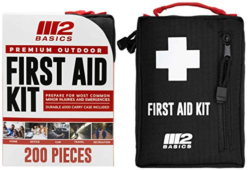 M2 BASICS Premium Compact First Aid Kit for Home, Outdoors, Travel, Car | Molle Compatible | Hiking, Camping, Backpacking, Cycling