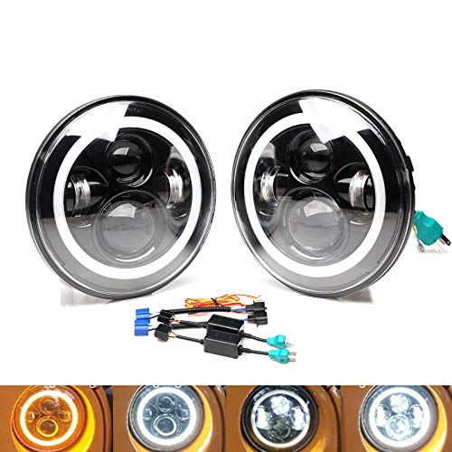7 Inch Round LED Headlight DRL Headlamp Angel Eyes Cool White Amber Signal Halo Ring Hi/Lo Beam H4 H13 for Kenworth T2000 1998-2009 - 6012/6014/6015/H6017/H6024-2 Year Warranty US Ship (Pair) -  DICN Factory