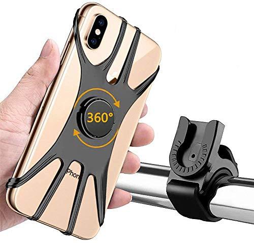 Phiraggit Supporto per Telefono per Bicicletta, Supporto per Telefono Rimovibile in Silicone Girevole a 360 ° per Smartphone da 4-6,5 Pollici, Molto Adatto per Biciclette e motociclette