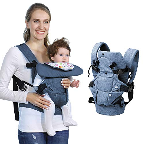 Baby Soft Carrier, 4-in-1 Ergonomic Convertible Carrier with Adjustable Straps and Breathable Mesh (Blue)