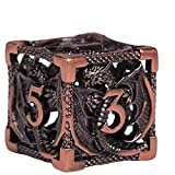 WeaponDice Hollow Metal DND Dice Set - Small Polyhedral-Sided Cubes, D4 D8 D10 D12 & D20 - Steampunk Design, Lightweight Copper Material - 3D Dungeons and Dragons Role-Playing Cube - 0.14oz - 7 Pieces