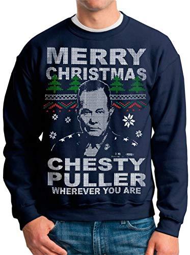 빈티지 플라이 못생긴 크리스마스 스웨터 체스티 풀러 해병대 홀리데이 스웨터 크리스마스 점퍼 성인 남성 풀오버