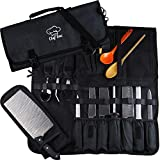 Chef Knife Roll Bag | 8+ Slots for Knives Cleaver & Kitchen Tools Utensils | 2 Large Zip Pockets |...