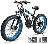 Bicicleta electrica 48V Bicicleta eléctrica eléctrica de bicicleta eléctrica, 26 '' Neumático gordo Ebike 21 Playa Cruiser Hombres deportes Mountain Bike Suspensión completa 350W Motor de la rueda tra