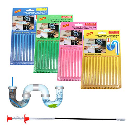 BOROMI Drain Sticks, Drain Snake, 48PCS Sewer Drainage and Deodorizing Cleaning Stick and a Steel Wire Sewer Anti-Blocking Dredge Tool for Toilets and Kitchens