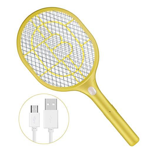 Anpro Elektrische vliegenmepper met 3000 V, 3 lagen netbescherming, USB-oplaadbaar, geel