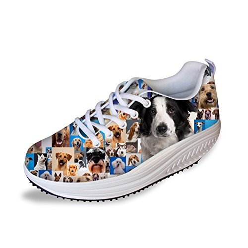 FOR U DESIGNS Cute Dog Animal Style Casual Walking Shoes Toning Fitness Women's Wedge Platform Shoes US 10