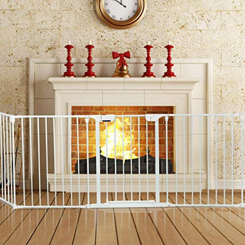 Costzon Baby Safety Gate, 115 Inch Length 5 Panel Adjustable Wide Fireplace Fence, BBQ Metal Fire Gate, Pet Isolation Fence with Walk-Through Door, Freestanding Hearth Gate (White, Medium)