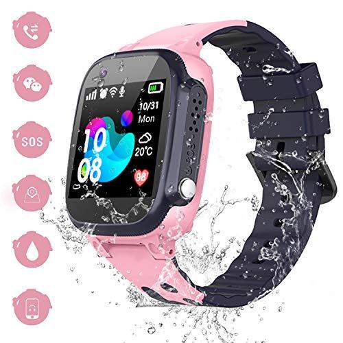 Smartwatch Bambini IP67 Impermeabile - AGPS LBS Tracker Orologio Intelligente Bambini, Messaggio Vocale Telecamera SOS Allarmi Torcia Elettrica, Orologio Bambini Festa di Compleanno Giocattolo