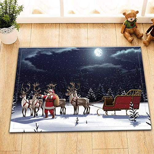 DcfxPcltcgi Christmas carpet, Santa Claus and reindeer sleigh holding gifts on a black snowy night, durable soft flannel cushions in the kitchen and bathroom