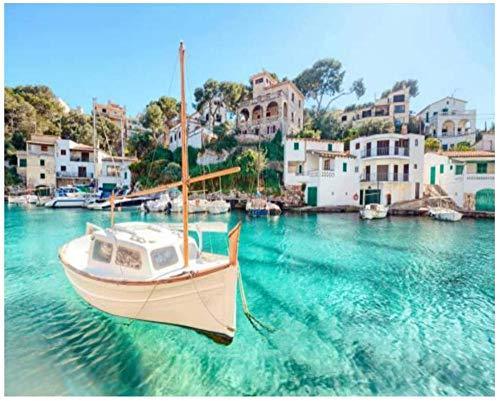 Góndolas del mar Adriático ancladas en la góndola Marina of Venetian Bay Kits de pintura por números para adultos, niños, bricolaje, cuadro de arte de pared, lienzo enmarcado, juego de pintura al óleo