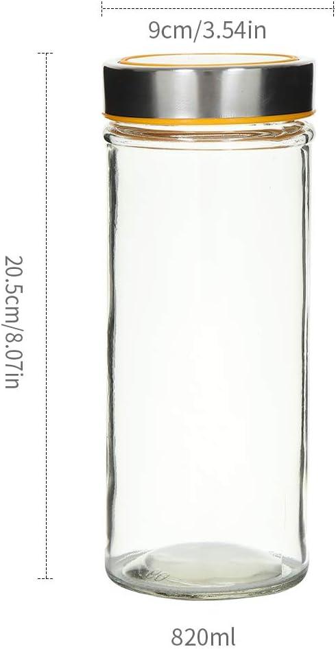 OUXI Ruby Tarros De Cristal con Tapa Transparentes,370ML Botes Hermeticos Cristal Botes Cocina Almacenaje Tarro Chuches Bote Transparente Cristal 4 Piezas 370ML