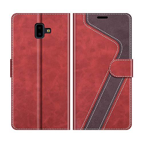 MOBESV Handyhülle für Samsung Galaxy J6 Plus Hülle Leder, Samsung Galaxy J6 Plus 2018 Klapphülle Handytasche Case für Samsung Galaxy J6 Plus 2018 Handy Hüllen, Modisch Rot