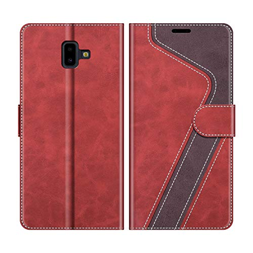 MOBESV Custodia Samsung Galaxy J6 Plus, Cover a Libro Samsung Galaxy J6 Plus, Custodia in Pelle Samsung Galaxy J6 Plus Magnetica Cover per Samsung Galaxy J6 Plus 2018, Elegante Rosso