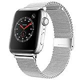 Mediatech Correa de repuesto compatible con Apple Watch, 44 mm, 42 mm, 40 mm, 38 mm, de acero inoxidable, con cierre rápido, compatible con iWatch Series 6/5/4/3/2/1 (40 mm/38 mm, plateado)