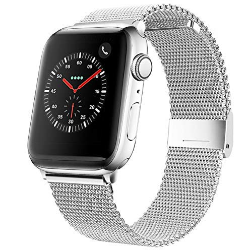 Mediatech Correa de repuesto compatible con Apple Watch, 44 mm, 42 mm, 40 mm, 38 mm, de acero inoxidable, con cierre rápido, compatible con iWatch Series 6/5/4/3/2/1 (40 mm/38 mm, plateado)