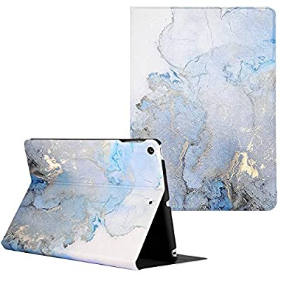 Artcase iPad 8th/7th Generation (10.2 inch) Case, Marble Case PU Leather Stand Cover with Auto Wake/Sleep for Apple iPad 10.2'' 2020/2019 (Gold Map)